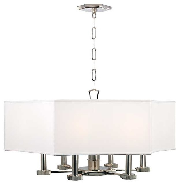 Hudson Valley Russell I-6 Light Chandelier in Polished Nickel transitional-chandeliers