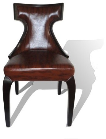 International Design Klismos Marble Leather Dining Chairs - Set of 2 contemporary-dining-chairs