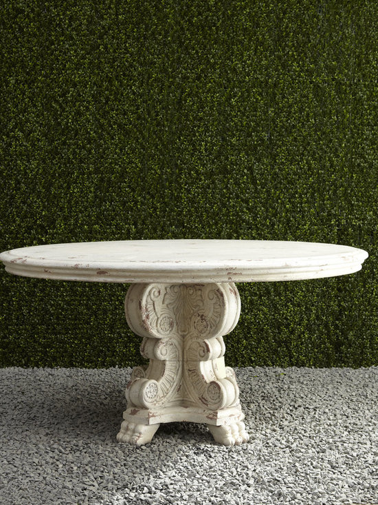 """Horchow - 60"""" Round Outdoor Table - 60"""" Round Outdoor TableDetailsEXCLUSIVELY OURS.Outdoor table handcrafted of crushed stone/polyester resin/styrene/fiberglass.Hand-painted worn white finish.Outdoor safe.60""""Dia. x 30""""T.Imported.Boxed weight approximately 217 lbs. Please note that this item may require additional delivery and processing charges.Why we choose manmade materials.Today's composite casting materials offer an unparalleled value for outdoor decorating:Great looks. They can be textured and finished to perfectly replicate a variety of natural materials at a significantly lower price.Mobility. Substantial enough to stand up to wind and weather yet at approximately one-fourth the weight of cement or stone they can be easily relocated for changes in landscape or design preference.Easy care. Not susceptible to mold mildew or other problems common to natural materials."""