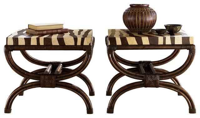 Tommy Bahama Home Royal Kahala Striped Delight Accent Table transitional-side-tables-and-end-tables