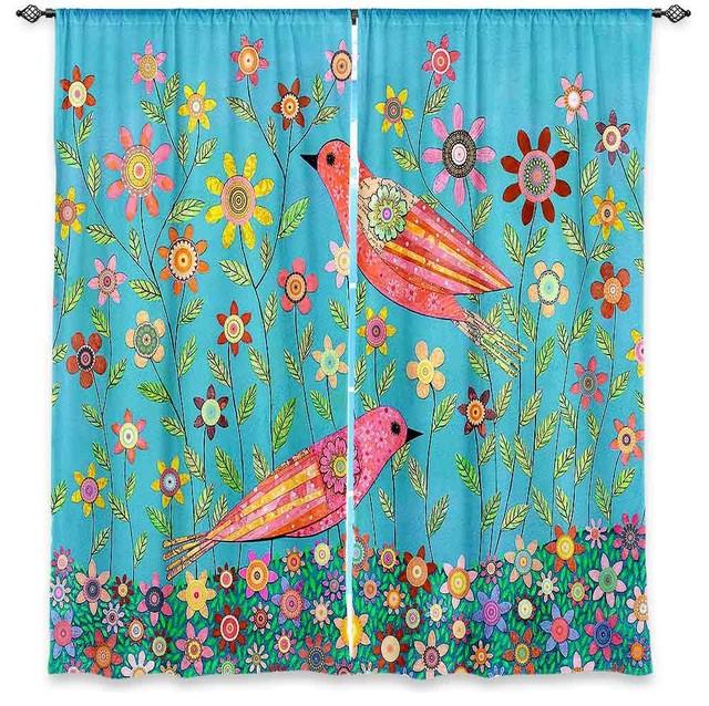 Window Curtains Lined By Sascalia Bohemian Birds