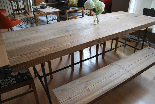 Reclaimed Wood And Steel Pipe Leg Table And Hairpin Leg Bench Eclectic Chicago By Urban