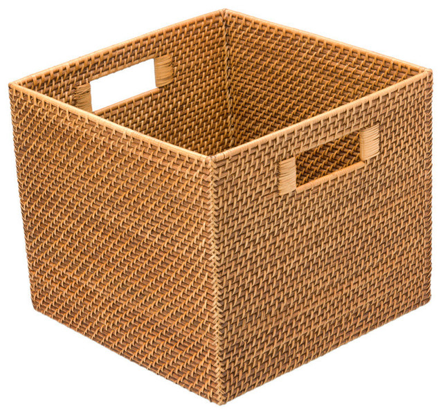 Exceptional Square Woven Storage Basket : Square Rattan Utility Basket Contemporary  Storage