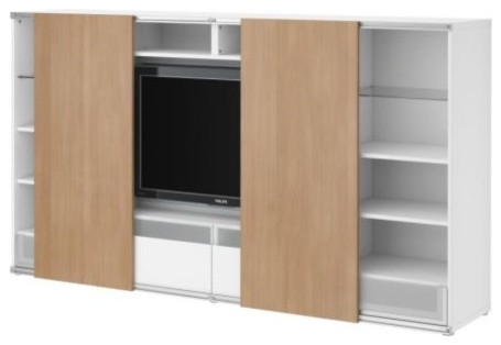 BESTÅ/INREDA TV storage combo with sliding doors modern media storage
