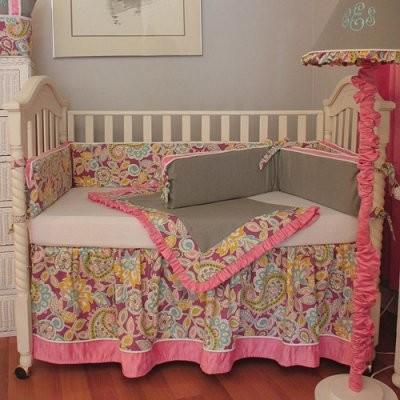 Hoohobbers Flirty Flowers 4-piece Crib Bedding Set - Pink modern-cribs
