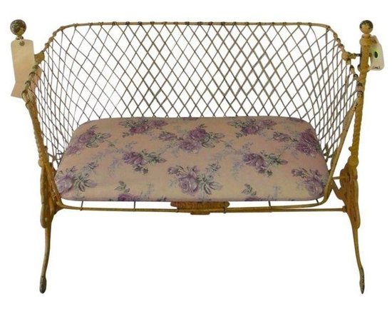 Pre-owned Antique Cradle Bench - This is a one of a kind piece. Originally the seller's bassinet from the early 50s, it was converted into a bench for the bedroom. It is a very fun, quirky piece that you will never encounter again. We love the ornate yellow frame and metal mesh bench seat.