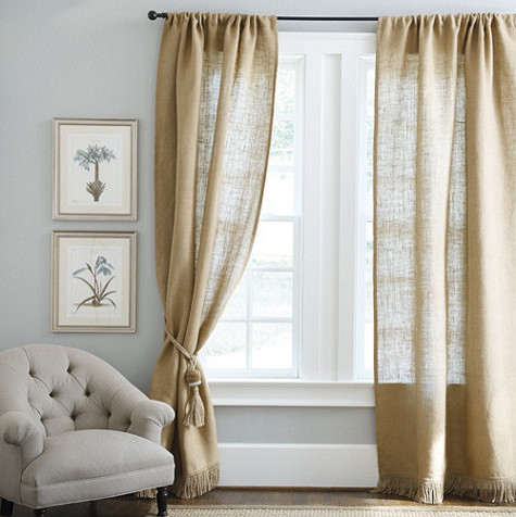 Fringed burlap panel farmhouse curtains by ballard