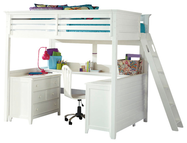 Lea willow run tall loft bed with desk in linen white Kids loft bed with desk