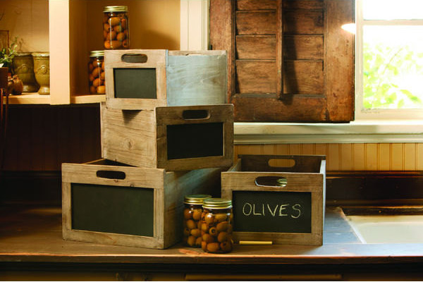 Rustic Wood Chalkboard Wine Crate eclectic-storage-boxes