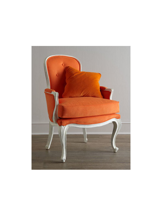 "Florence de Dampierre - Florence de Dampierre ""Breena"" Pompadour Armchair - Beautifully carved, classic Louis XV-style armchair gets an update with eye-popping orange upholstery. Decorative pillow shown not included. From the Florence de Dampierre Collection for John-Richard. Handcrafted. Acacia wood frame. Hand-painted ru..."