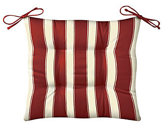 "Tufted Chair Cushion 20""x18""x3"" - Brick Awning Stripe contemporary-outdoor-pillows"