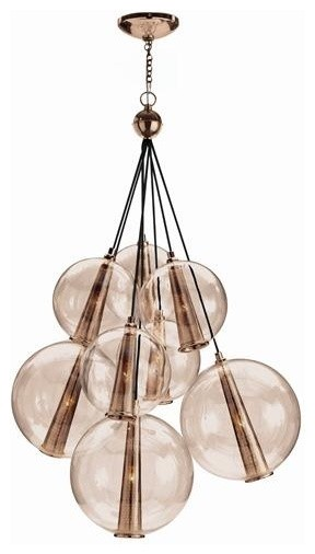 Arteriors Caviar Adjustable Large Rose Gold and Rose Glass Cluster traditional pendant lighting