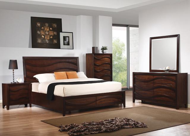Loncar 5pc Queen Wave Bedroom Set In Java Oak Finish