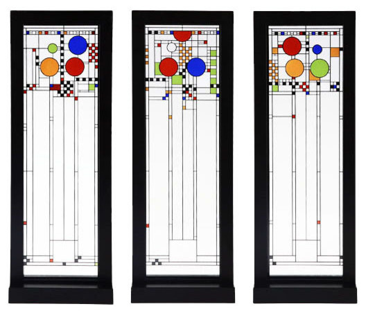 Frank Lloyd Wright Fireplace Screens: Frank Lloyd Wright Playhouse Set Of Three Stained Glass