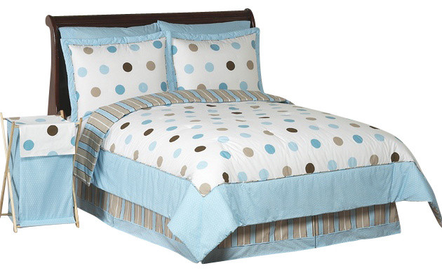 Blue and Chocolate Mod Dots Bedding Set Twin contemporary-bedding