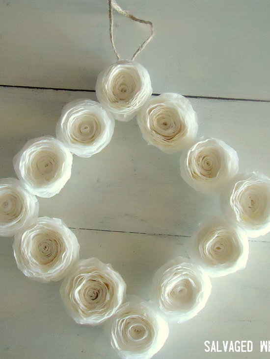 Square Paper Flower Wreath - Simple paper flower wreath