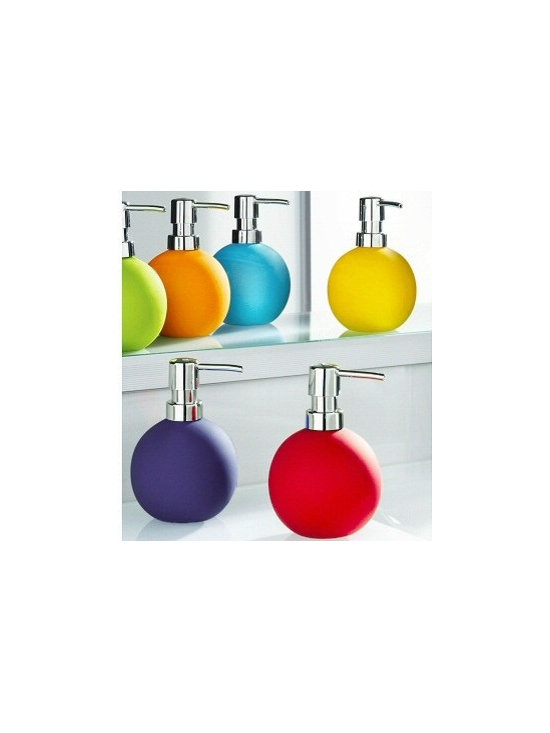 Energy Porcelain Non-Slip Soap / Lotion Dispenser from Vita Futura - Our Energy porcelain soap / lotion dispensers feature a non-slip rubberized matte coating.