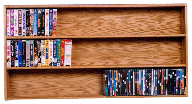 Solid Oak Wall or Shelf Mount DVD/VHS tape/Book Cabinet - Modern - Media Racks And Towers - by ...