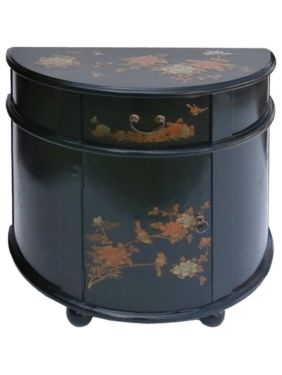 Black Half Moon Shape Chinese Leather Gold Flower Bird Painting Side Cabinet - Look at this Chinese half moon shape cabinet which is made of solid elm wood. Especially, the outside of cabinet is wrapped by artificial leather, and it also comes with flower & birds painting around the cabinet. It should be perfect to put at entrance hallway of your house.
