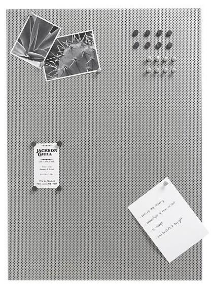 Mesh silver bulletin board modern bulletin boards and for Modern cork board