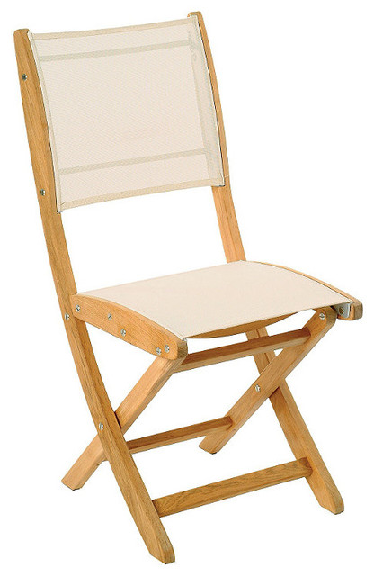 Set of Two Sillage Outdoor Teak and Sling Folding Chairs Patio Furniture T