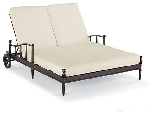 Sorrento Double Outdoor Chaise Lounge Chair With Cushions Frontgate Patio