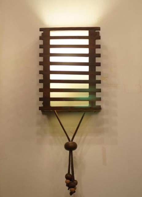 Modern Wood Shade Wall Sconce Contemporary Wall
