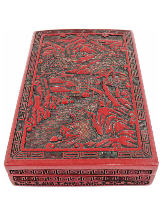 Cinnabar Square Box - Beautiful hand carved lacquer cinnabar box has a false bottom to hide secret letters! Circa 1930s, it does have a crack along one side which is shown in photo.
