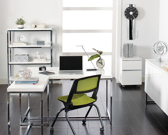 Tate Desk - Fresh modern and functional, the Tate has it all. At a great price. Crafted in a white high gloss finish or a walnut veneer with a chrome frame. Return sold separately.