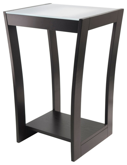 Winsome Wood Radius Accent Side Table w/ Frosted Glass & Curved Legs in Dark Esp - Contemporary ...