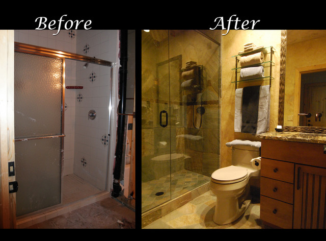 Slate Bath Before and After contemporary