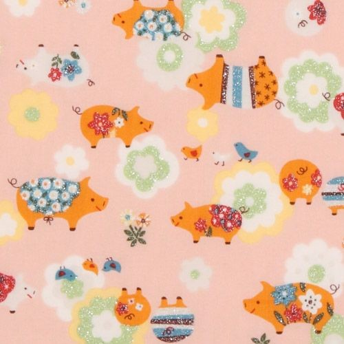 Pink glitter piggy japanese fabric kokka nursery decor for Pink nursery fabric