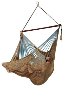 Jumbo Sized Tan Weather Resistant Rope Hammock Chair contemporary-hammocks