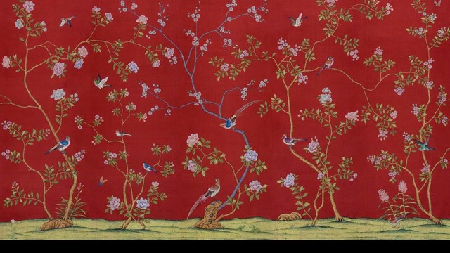 Chinoiserie Handpainted Silk Wallpaper Other Metro By