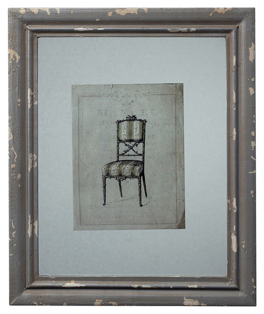 Sterling Industries 128-1029 Distressed Grey Picture Frame w/ Antique Chair contemporary-frames