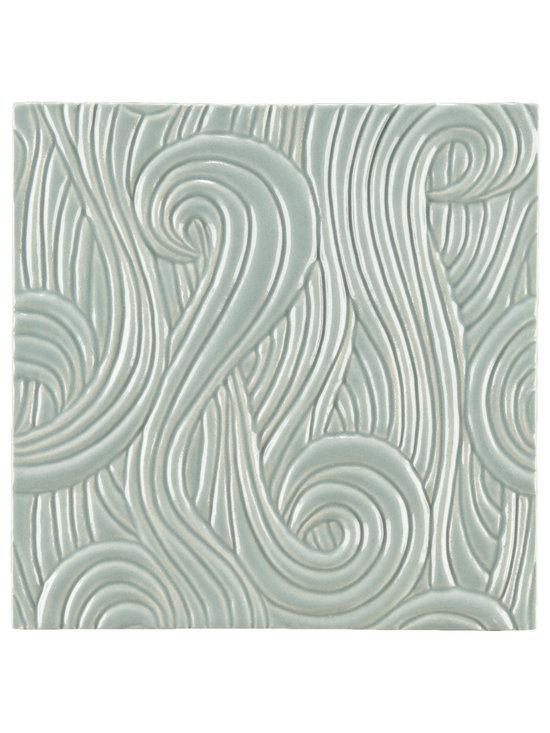 """Ceramic - ANN SACKS Chinois by Robert Kuo 9"""" x 9"""" dragon swirl ceramic field in lake"""