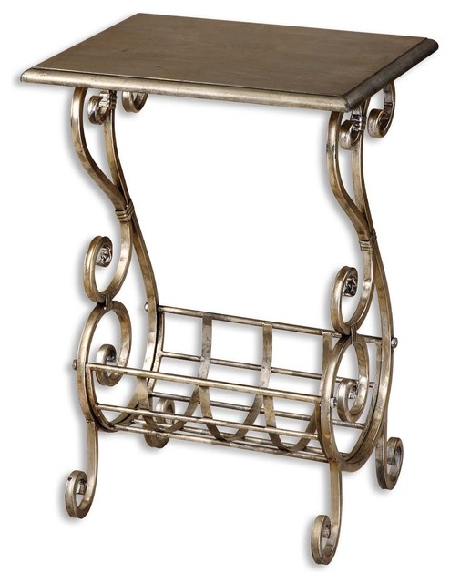 Uttermost Lilah Silver Leaf Magazine Table 26117 traditional-side-tables-and-end-tables