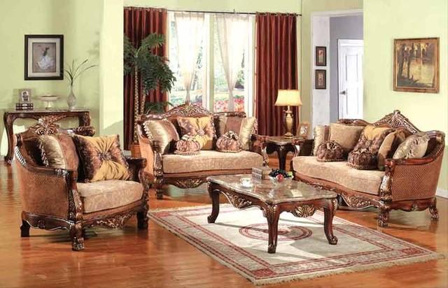 victoria cherry with gold accents sofa set d081 victorian living room furniture sets. Black Bedroom Furniture Sets. Home Design Ideas