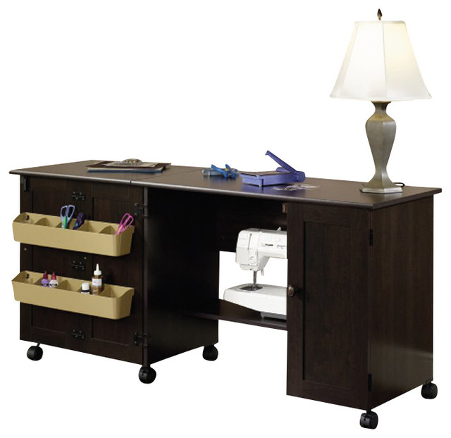 Sauder Craft and Mobile Sewing Cart in Cinnamon Cherry - Transitional ...