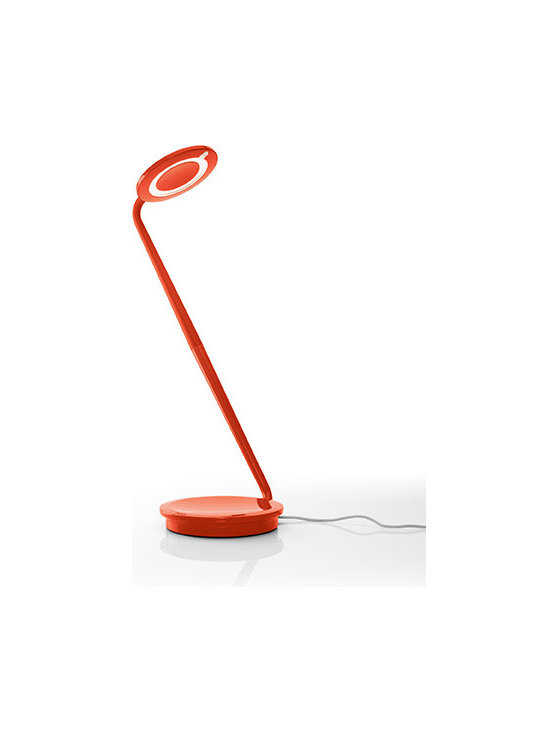 Pablo Designs - Pixo LED Desk Lamp (7 colours), Orange - Pixo's swiveling light shade and highly maneuverable arm lend it maximum utility within a minimal footprint. Its compact, energy-saving LED light is infinitely adjustable, allowing the user to focus warm, glare-free light wherever needed. The base integrates a USB port for charging mobile devices. Even more, the upper and lower pieces ship detached from one another to reduce packing materials and shipping costs. Pixo is 97% recyclable.