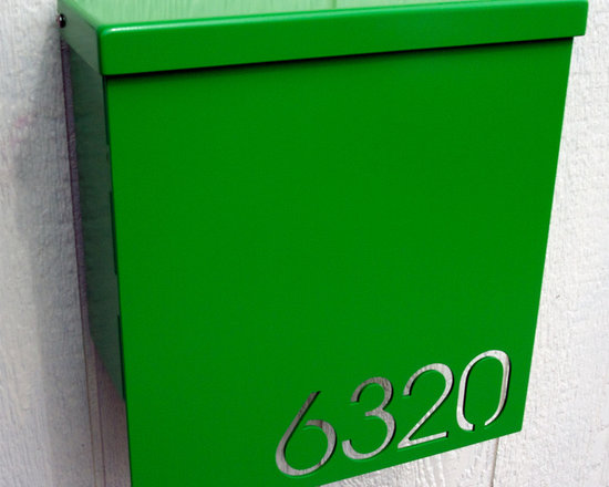 Custom House Number Mailbox No. 1310 Drop Front in Powder Coated Aluminum by Mod -