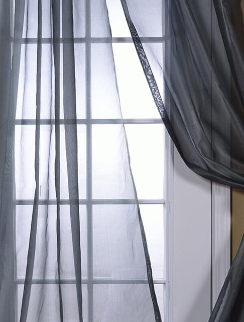 Grey Silk Organza Sheer Curtain - Contemporary - Curtains - san ...