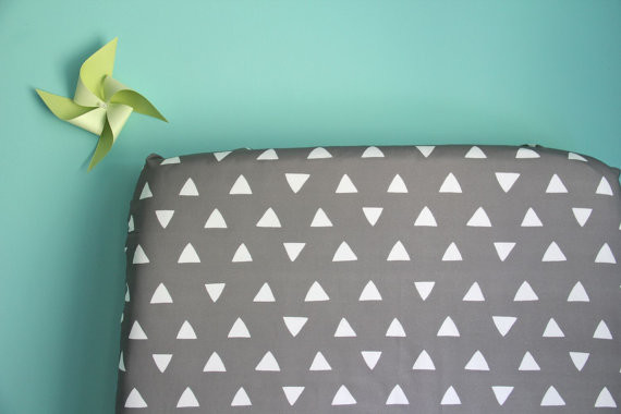 Gray This Way Triangles Fitted Crib Sheet by Iviebaby contemporary-baby-bedding