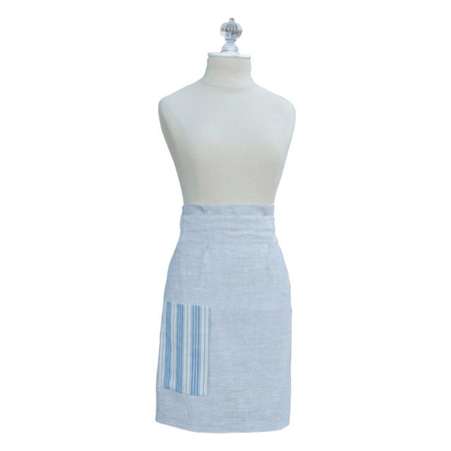 Lindsay P Designs Blue French Ticking Half Apron contemporary-aprons