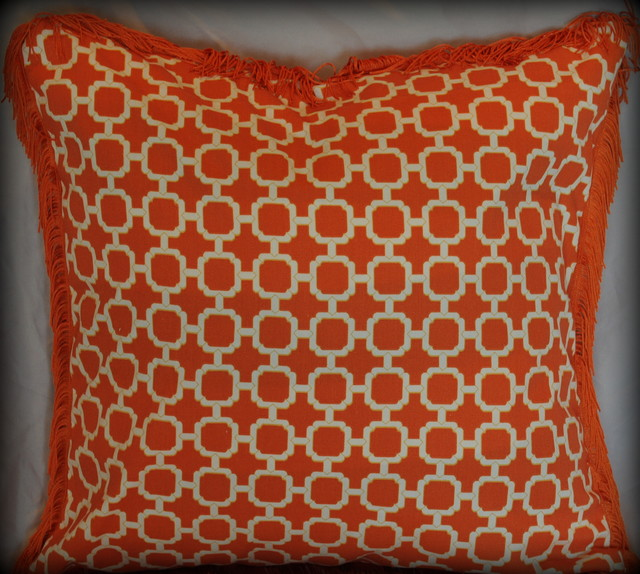 Orange And White Decorative Pillows : Orange and White Lattice pillow with fringe trim - Modern - Decorative Pillows