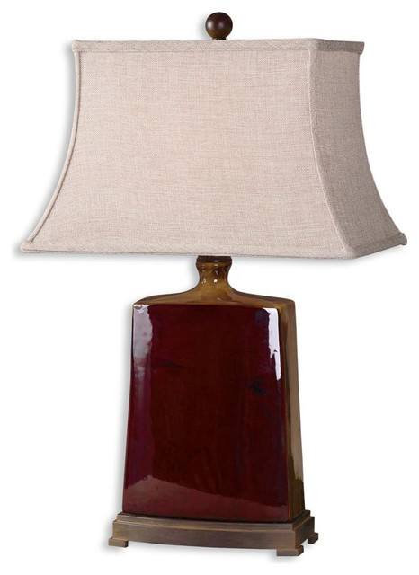 Baalon Burgundy Table Lamp traditional-table-lamps