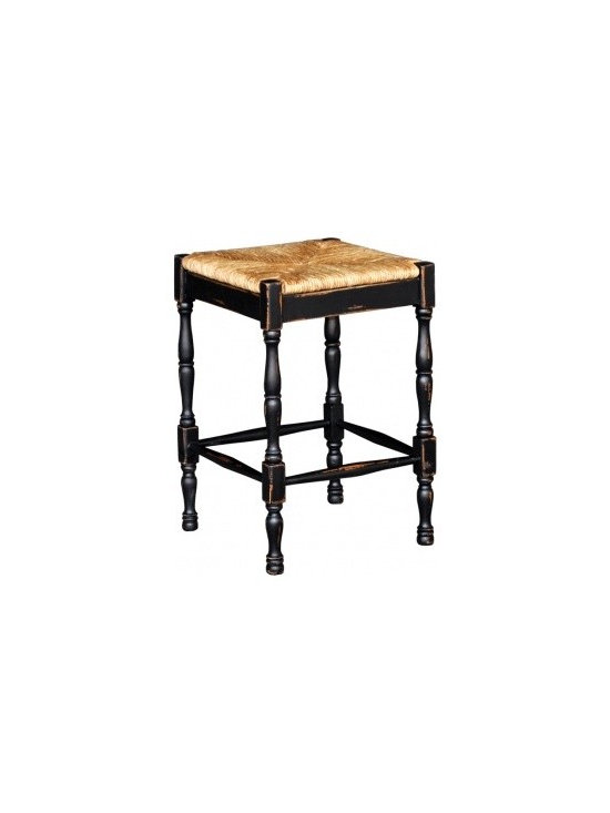 "Veranda Counter Stool - Veranda Stool features a rush seat, beautiful turned legs and lots of style and charm. Beautifully hand built from mahogany, a solid hardwood and a sustainable solution for eco-effective design and construction. Shown in Distressed Black. Our European Vintage Collection is hand-made from start to finish. Many traditional ""Old World"" methods are used including dovetailed and mortise & tenon joints. These unique solid wood products are made mainly from mahogany and their hand-applied finishes create an antique but spirited look that is part of the charm and appeal of this collection. Standard colors are available in Distressed (as shown in most of our pictures achieving the popular ""shabby chic"" style) and Light Distressed. Knowing the importance of replenishing the earth's natural richness, this artisan actively participates in a tree re-planting program."