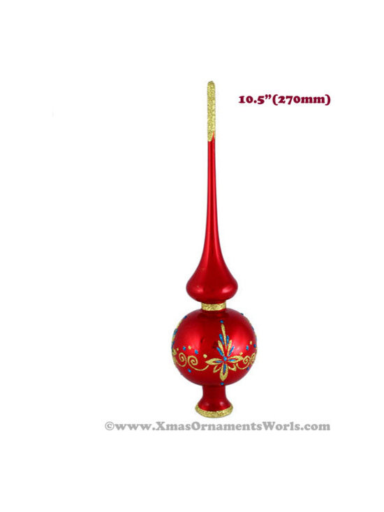Our Products - This vintage style Christmas Tree topper is 10.5'' (270mm) tall and made of hand blown glass. It is hand painted by a skilled artist and will be a beautiful addition to your Christmas ornaments collection. Artists use same painting technique that was used in 1800's. Each glass ornament is painted individually which makes them unique and adds some small variations to each product.