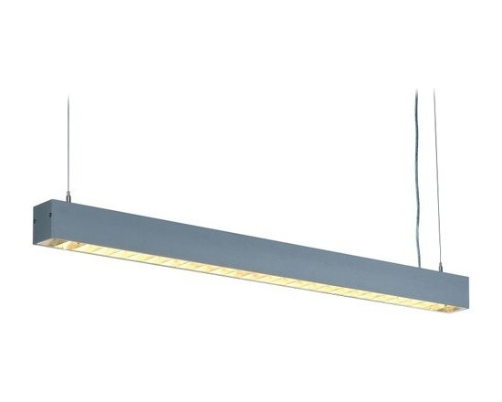 SLV Lighting - SLV Lighting | Riffa PD-101 Linear Suspension Light - Design by SLV Lighting.The Riffa PD-101 Linear Suspension Light is an industrial style fixture. Riffa is equipped with a Darklight grid, which is suitable for display work stations according to DIN 5035-7 allowing for an optimal illuminated work station and glare-free light. Ideal for both residential and commercial applications. Hang Riffa over a conference table, pool table, or wherever you need light. Made of aluminum. Produces direct and ambient light.