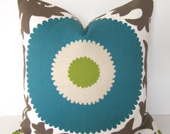 Decorative Designer Indoor / Outdoor, Suzani Pillow Cover By Loubella1 eclectic-decorative-pillows